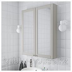 ГОДМОРГОН Зеркальный шкаф с 2 дверцами, Кашён светло-серый, 80x14x96 см, фото 3