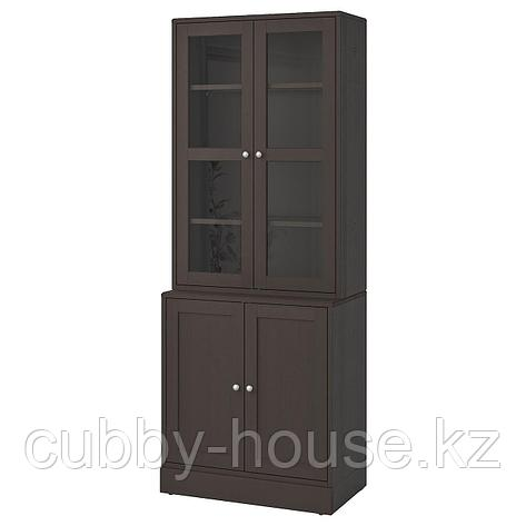 ХАВСТА Комбинация для хранения с сткл двр, серый, 81x47x212 см, фото 2