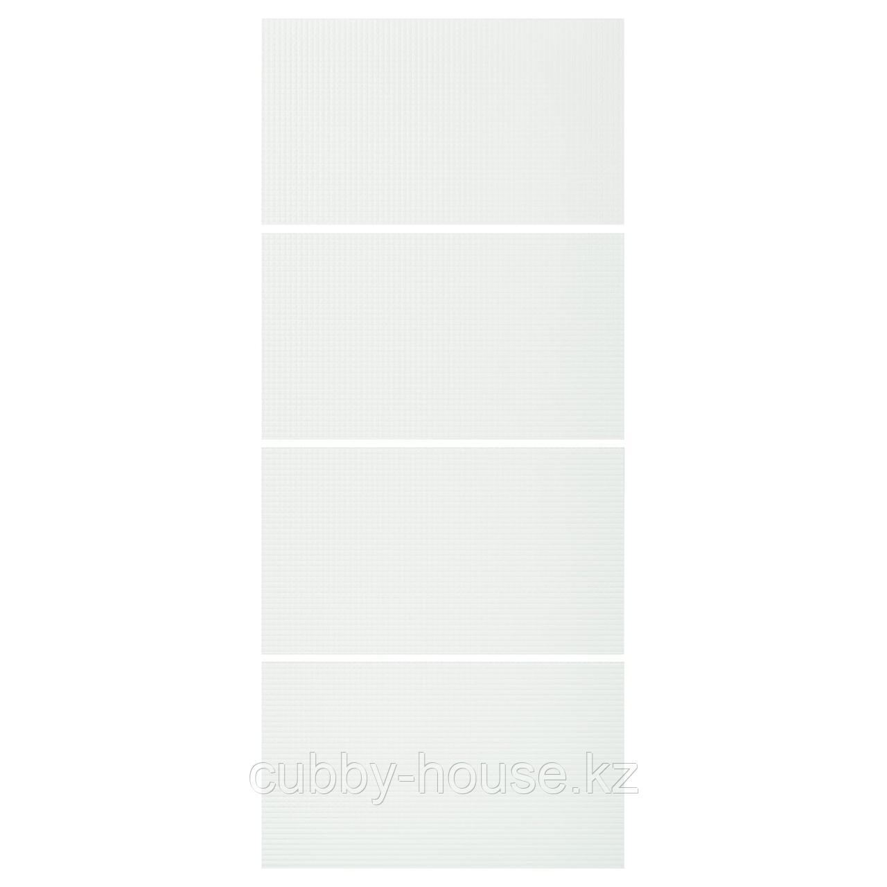 НЮКИРХА 4 панели д/рамы раздвижной дверцы, закаленное стекло,орнамент «клетка», 75x236 см