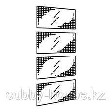 НЮКИРХА 4 панели д/рамы раздвижной дверцы, закаленное стекло,орнамент «клетка», 75x236 см, фото 2