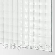 НЮКИРХА 4 панели д/рамы раздвижной дверцы, закаленное стекло,орнамент «клетка», 75x236 см, фото 3