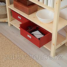 ИВАР Угловой стеллаж со шкафом/ящиками, сосна, красный, 145/145x30x226 см, фото 3