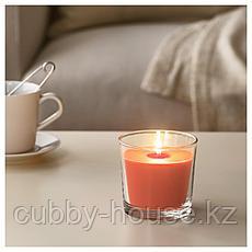 СИНЛИГ Ароматическая свеча в стакане, Персик и апельсин, оранжевый, 9 см, фото 2