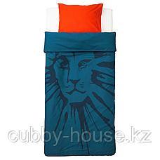 УРСКОГ Пододеяльник и 1 наволочка, лев, темно-синий, 150x200/50x70 см, фото 3