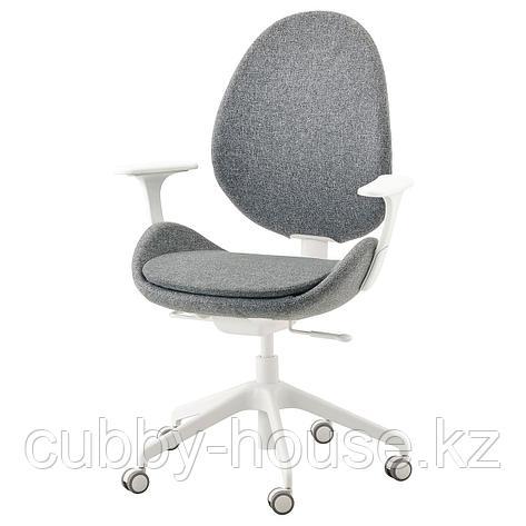 ХАТТЕФЬЕЛЛЬ Рабочий стул с подлокотниками, Гуннаред бежевый, белый, фото 2