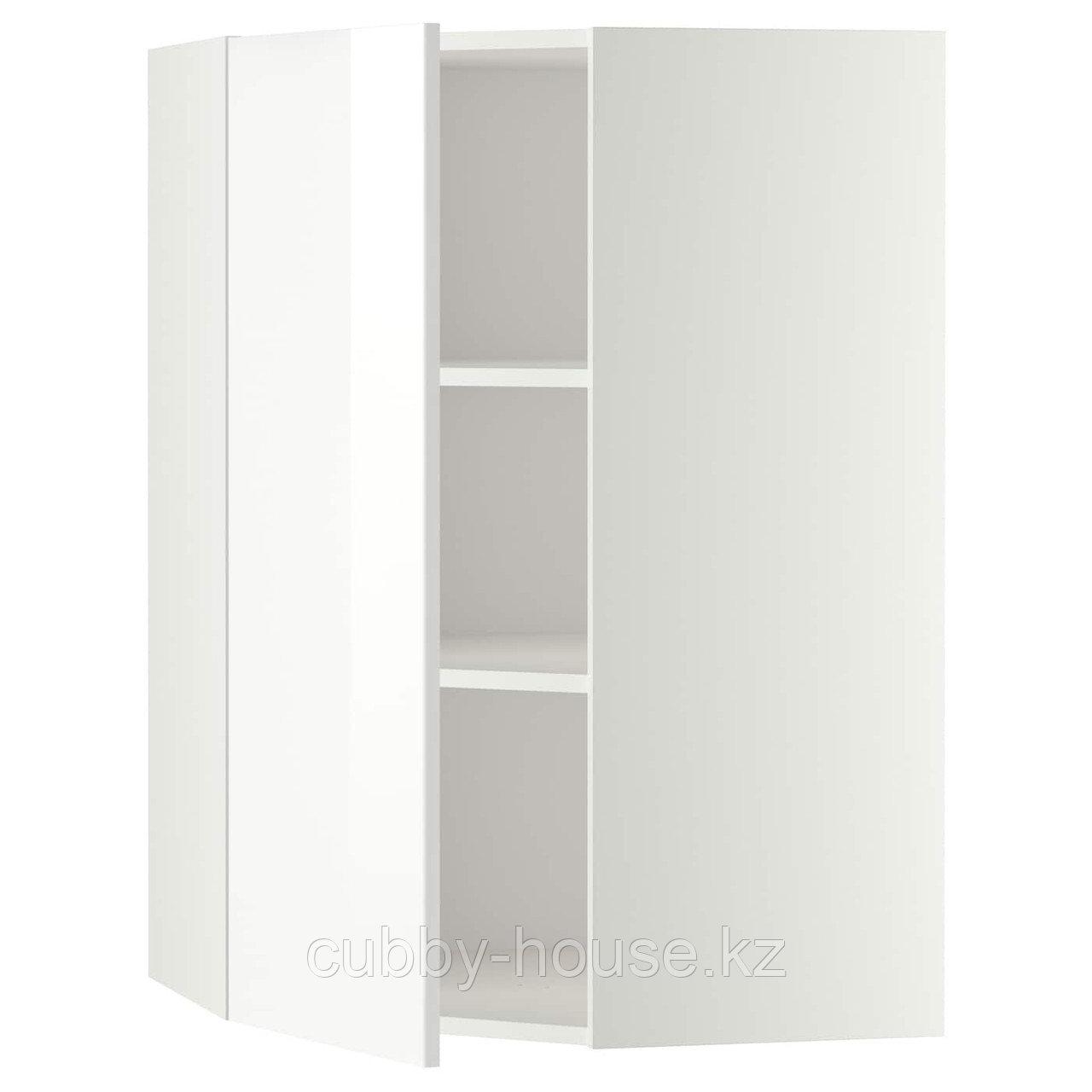 МЕТОД Угловой навесной шкаф с полками, белый, Рингульт белый, 68x80 см