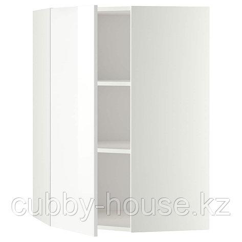 МЕТОД Угловой навесной шкаф с полками, белый, Рингульт белый, 68x80 см, фото 2