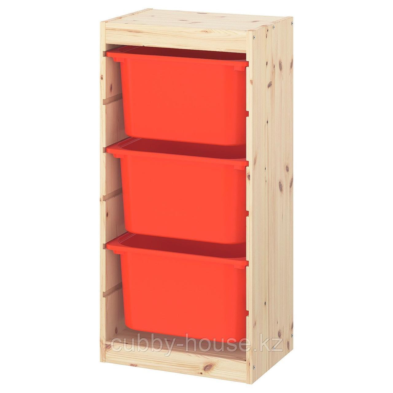 ТРУФАСТ Комбинация д/хранения+контейнеры, светлая беленая сосна, белый, 44x30x91 см
