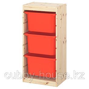 ТРУФАСТ Комбинация д/хранения+контейнеры, светлая беленая сосна, белый, 44x30x91 см, фото 2