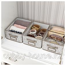 СТОРСТАББЕ Коробка с крышкой, бежевый, 25x35x15 см, фото 3