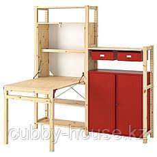 ИВАР Стеллаж со столом/шкафами/ящиками, сосна, красный, 175x30-104x179 см, фото 2