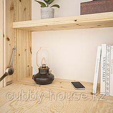 ИВАР Стеллаж со столом/шкафами/ящиками, сосна, красный, 175x30-104x179 см, фото 3