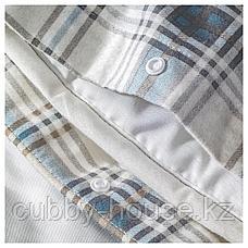 НОРДРУТА Пододеяльник и 1 наволочка, серый, синий, 150x200/50x70 см, фото 2