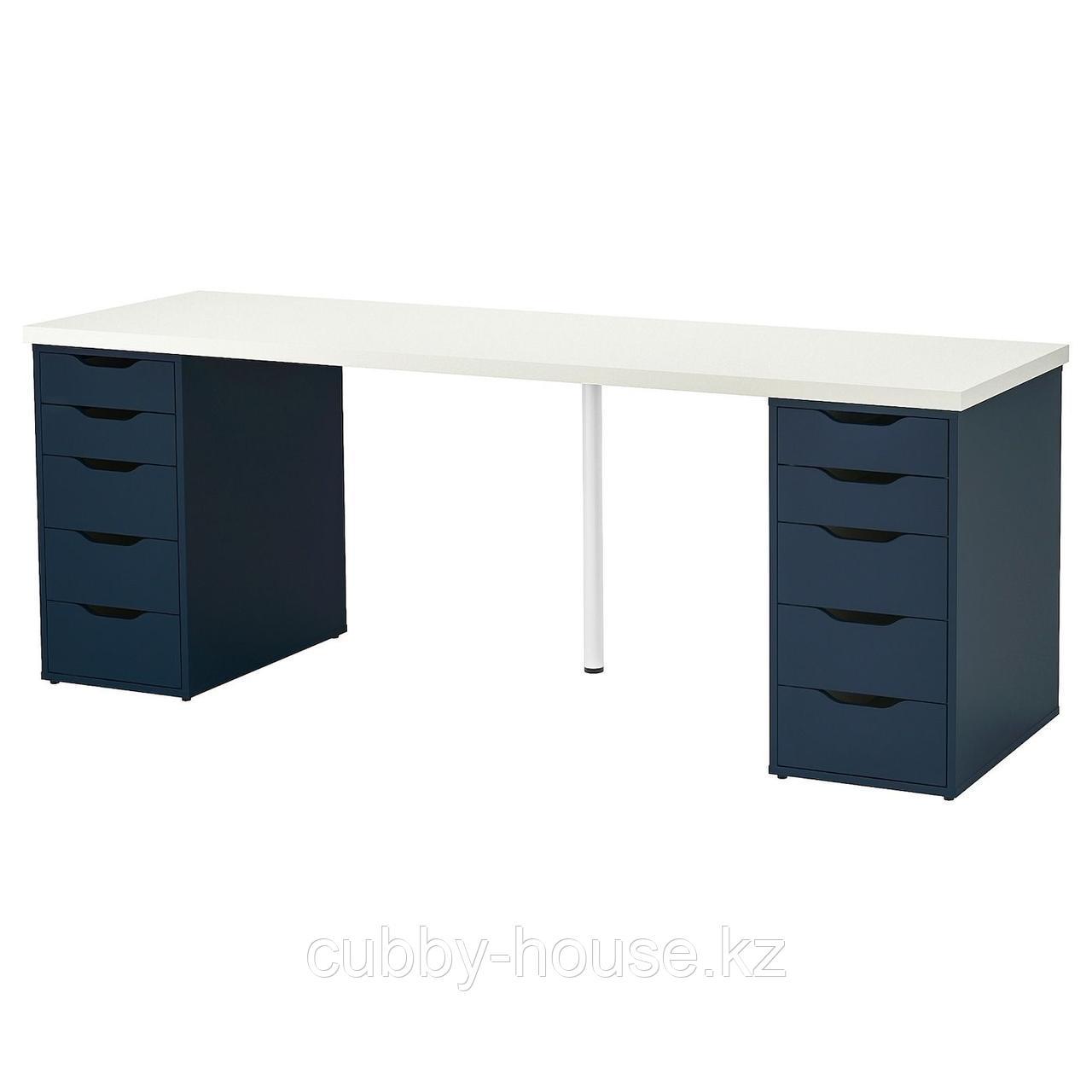 ЛИННМОН / АЛЕКС Стол, черно-коричневый, синий, 200x60 см