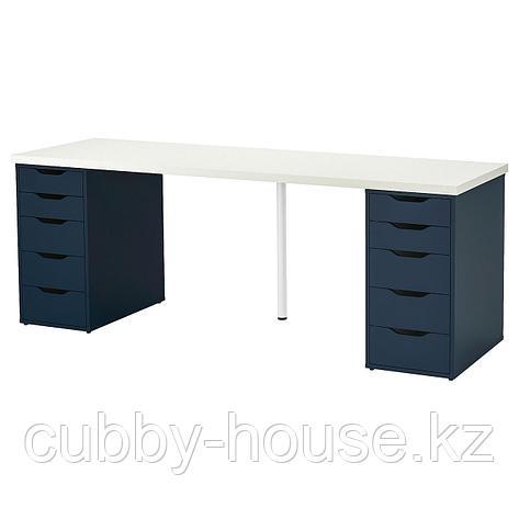 ЛИННМОН / АЛЕКС Стол, черно-коричневый, синий, 200x60 см, фото 2