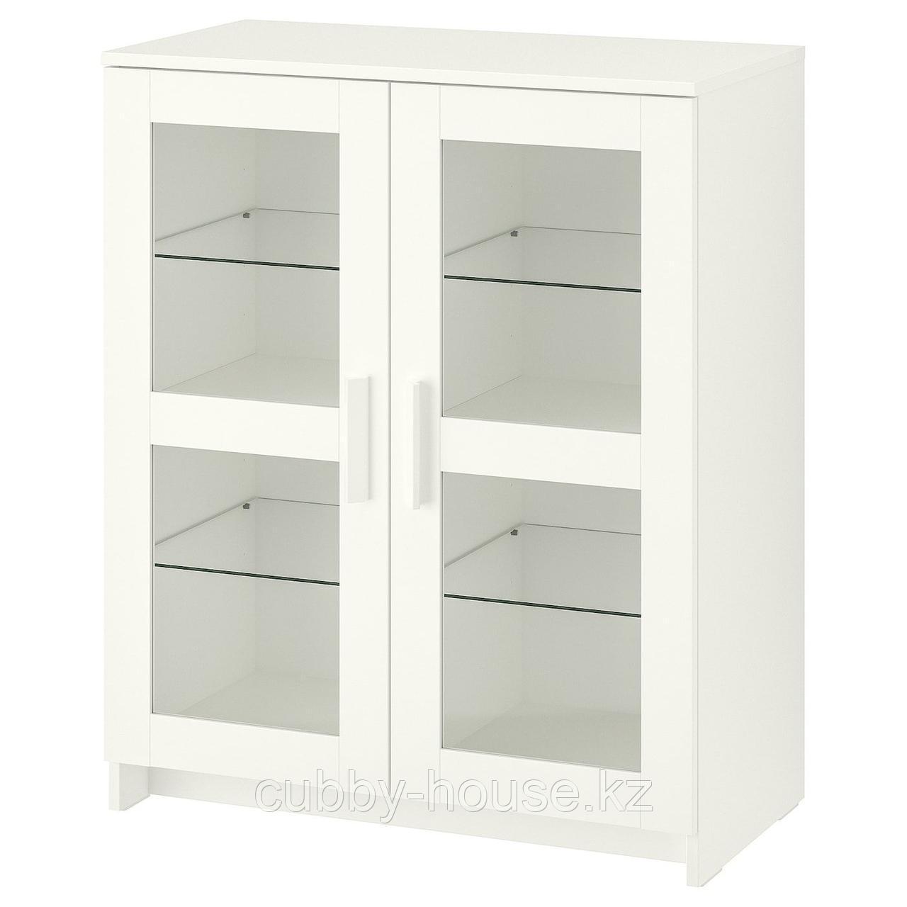 БРИМНЭС Шкаф с дверями, стекло, (белый, черный), 78x95 см