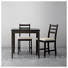 ЛЕРХАМН Стол, черно-коричневый, 74x74 см, фото 3