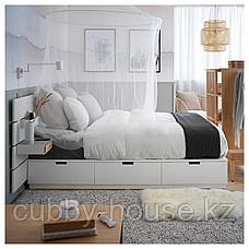 НОРДЛИ Каркас кровати/отд д/хран/изголовье, белый, 180x200 см, фото 3