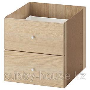 КАЛЛАКС Вставка с 2 ящиками, глянцевый белый, 33x33 см, фото 2