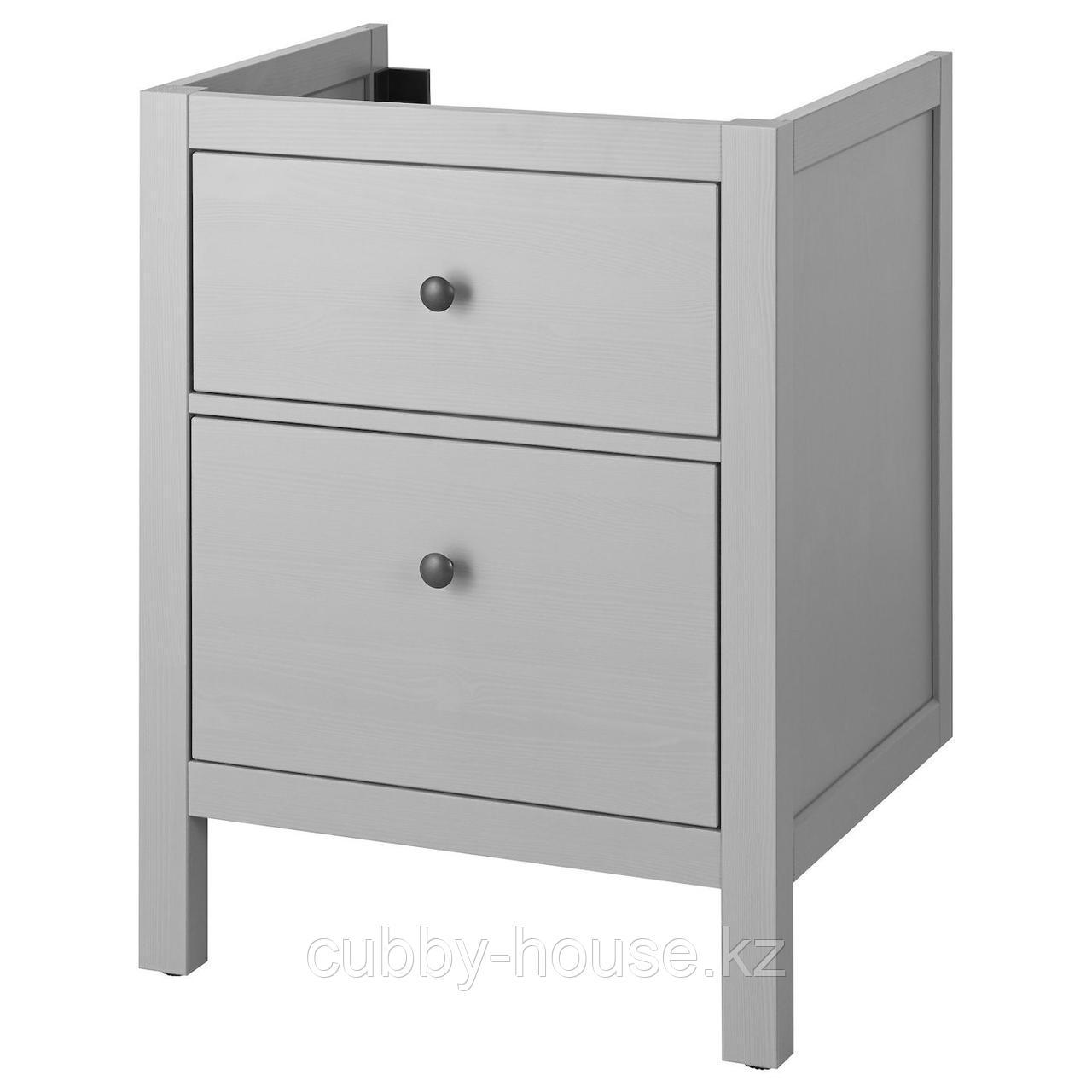 ХЕМНЭС Шкаф для раковины с 2 ящ, серый, 80x47x83 см