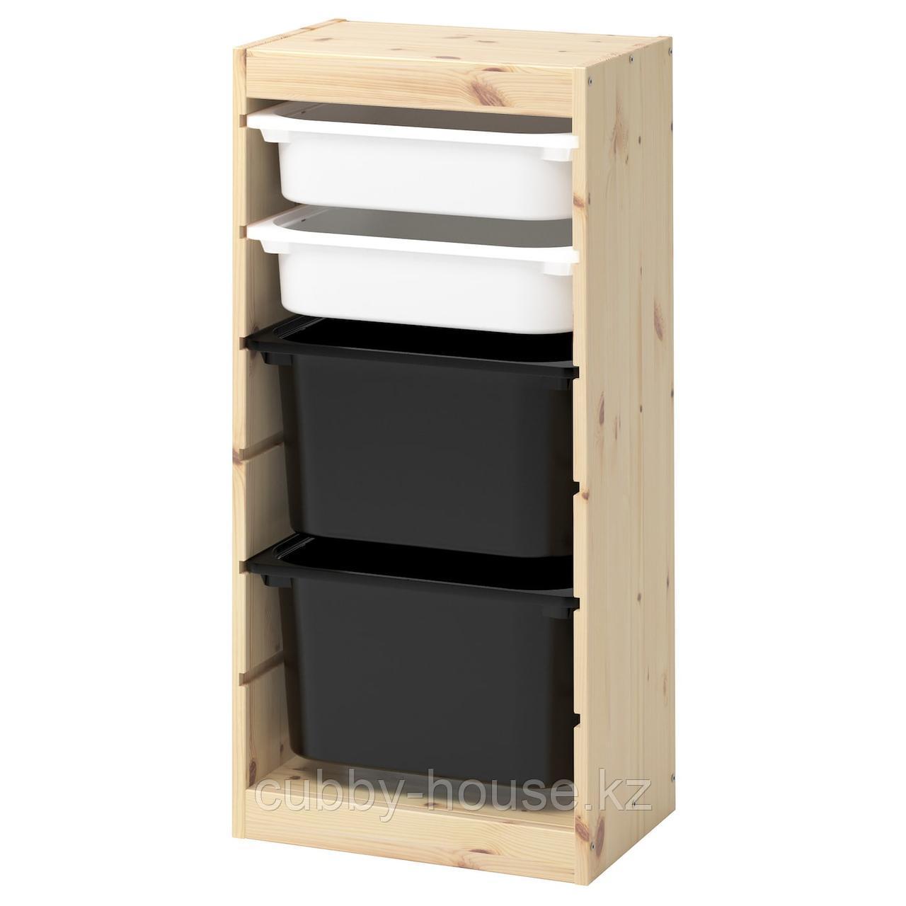 ТРУФАСТ Комбинация д/хранения+контейнеры, светлая беленая сосна белый, розовый, 44x30x91 см