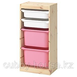 ТРУФАСТ Комбинация д/хранения+контейнеры, светлая беленая сосна белый, розовый, 44x30x91 см, фото 2