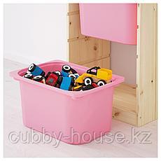 ТРУФАСТ Комбинация д/хранения+контейнеры, светлая беленая сосна белый, розовый, 44x30x91 см, фото 3