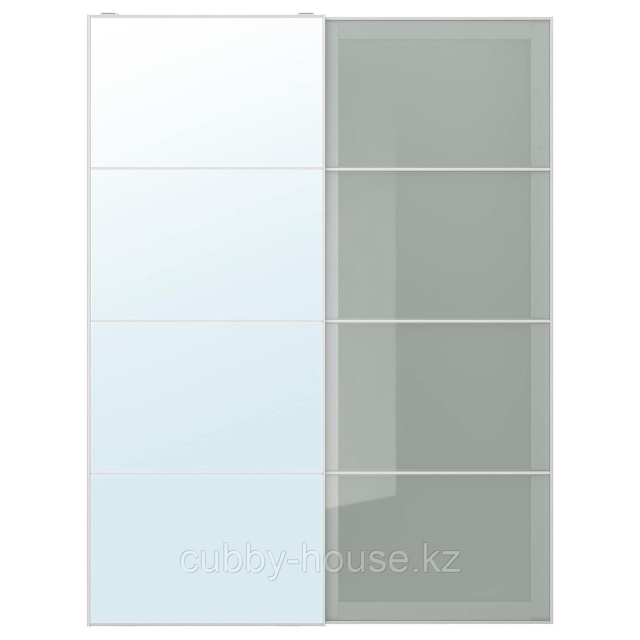 АУЛИ / СЭККЕН Пара раздвижных дверей, зеркальное стекло, матовое стекло, 150x236 см