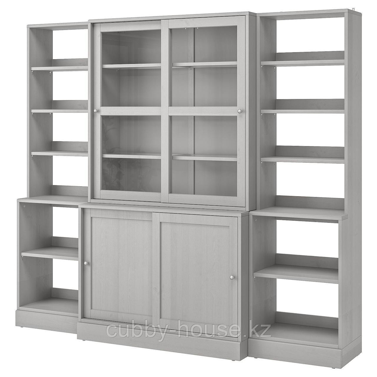 ХАВСТА Комбинация с раздвижными дверьми, белый, 243x47x212 см