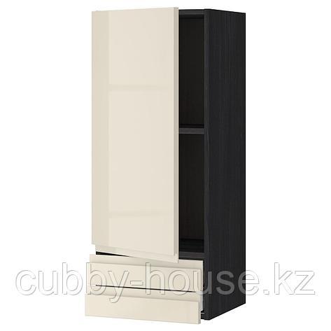 МЕТОД / МАКСИМЕРА Навесной шкаф с дверцей/2 ящика, белый, Воксторп глянцевый светло-бежевый, 40x100 см, фото 2