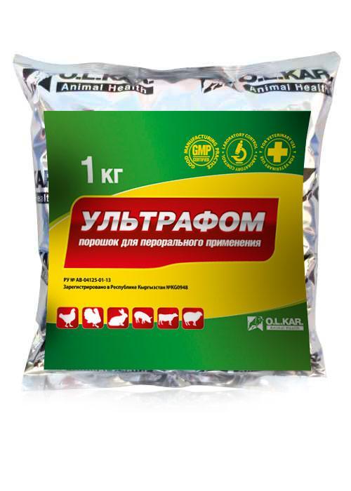 Ультрафом 1000г порошок ( колистин сульфат, окситетрациклин г/х, триметоприм )