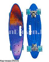 Лонгборд подростковый 59*16 Penny Board  с ручкой и со светящимися колесами (пенни борд) Космос