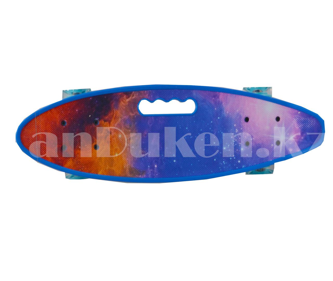 Лонгборд подростковый 59*16 Penny Board с ручкой и со светящимися колесами (пенни борд) Космос - фото 3