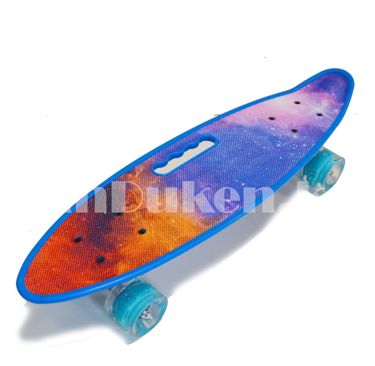 Лонгборд подростковый 59*16 Penny Board с ручкой и со светящимися колесами (пенни борд) Космос - фото 5