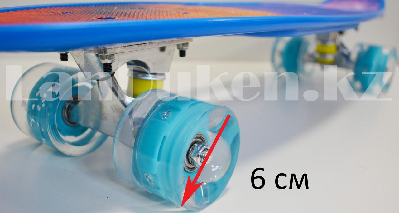 Лонгборд подростковый 59*16 Penny Board с ручкой и со светящимися колесами (пенни борд) Космос - фото 6