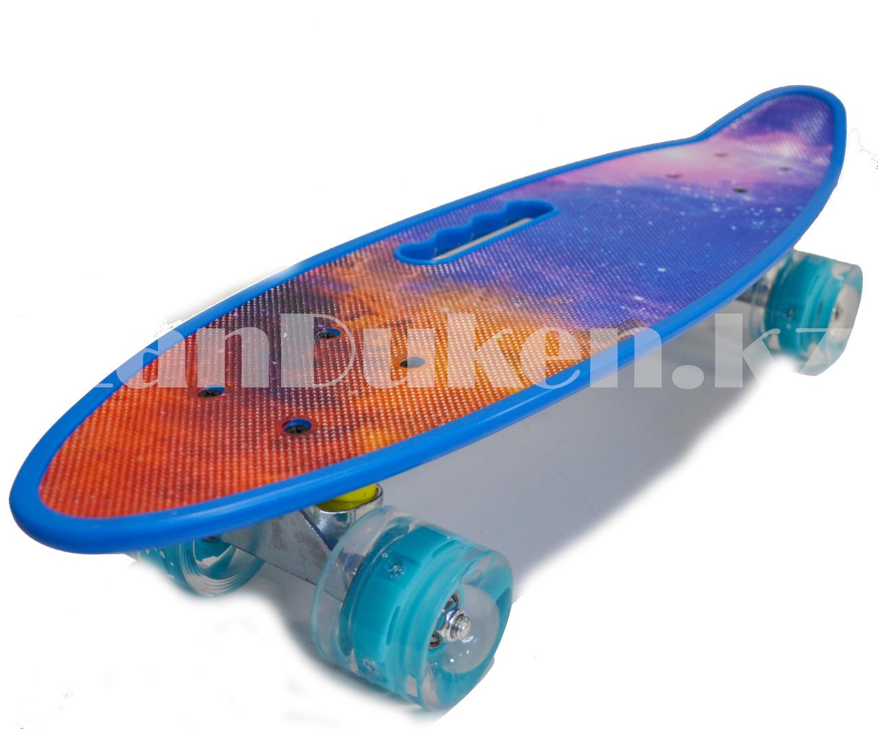 Лонгборд подростковый 59*16 Penny Board с ручкой и со светящимися колесами (пенни борд) Космос - фото 7