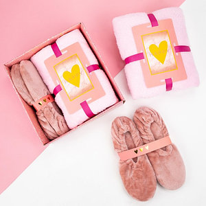Подарочный набор: плед 100х150 см и следки 25-26 см, розовый
