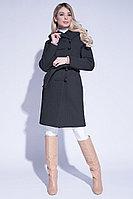 Пальто демисезонное, шерсть, 44-52, классика, капюшон