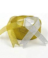 """Лента металлизированная """"Золото, серебро"""", 1 метр Серебро 1"""