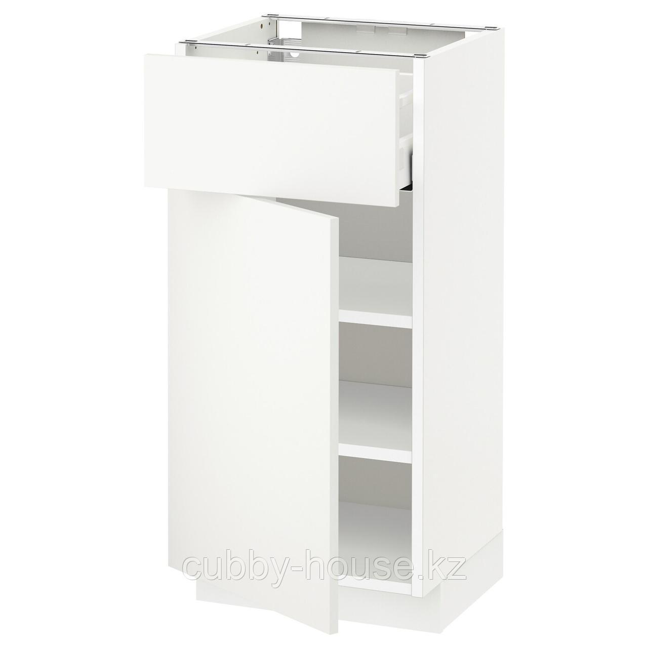 МЕТОД / МАКСИМЕРА Напольный шкаф с ящиком/дверью, белый, Будбин белый с оттенком, 40x60 см