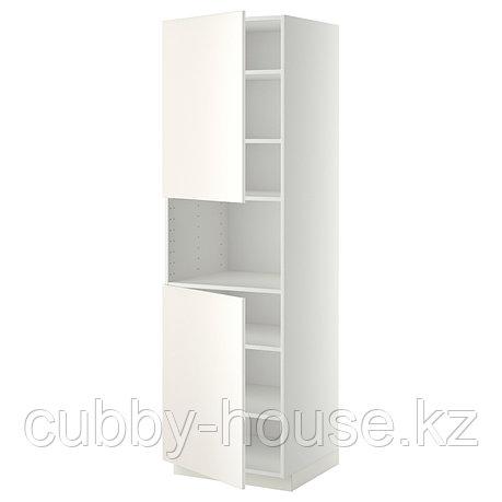 МЕТОД Выс шкаф д/СВЧ/2 дверцы/полки, белый, Хэггеби белый, 60x60x200 см, фото 2