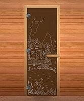Дверь стеклянная Бронза Банька 1900х700 мм,8 мм, коробка осина