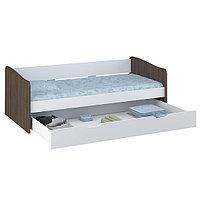 Кровать детская выдвижная Polini kids Simple 4210, белый-трюфель, фото 1