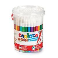 Фломастеры 24 цвета /100 штук Carioca Doodles 2.2 мм, (для детских садов), в пластиковом боксе