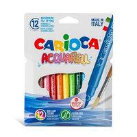 Фломастеры акварельные 12 цветов, CARIOCA 'Acquarell', с кистевым пишущим узлом, смываемые, картон, европодвес