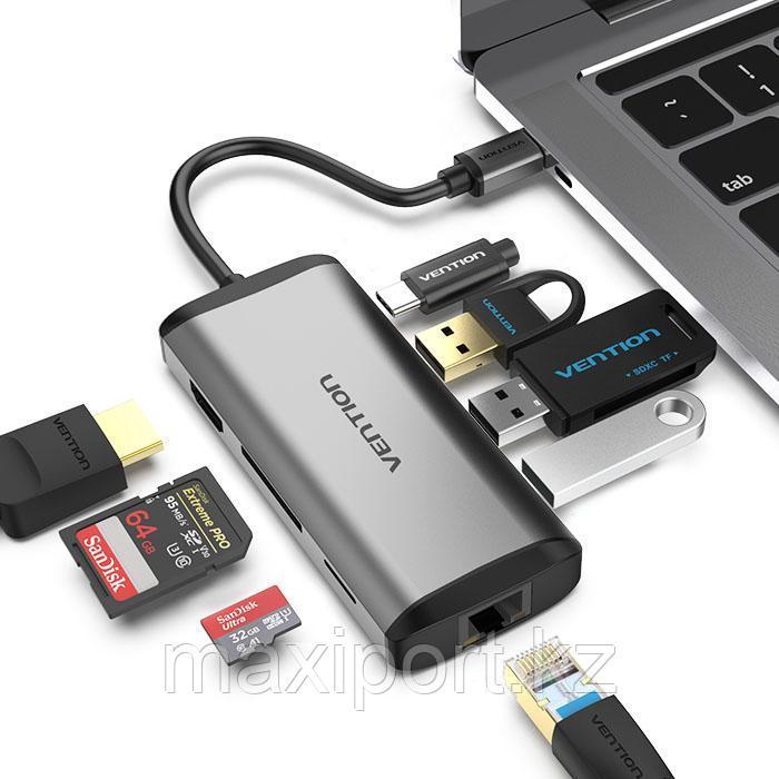 Адаптер Vention 8in1  Type-c To usb3.0×3/HDMI/RJ45/TF/SD/PD 87W