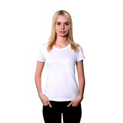 "Футболка для сублимации Прима-Лето микрофибра ""Style Woman"" цвет: белый, размер 42(2XS)"