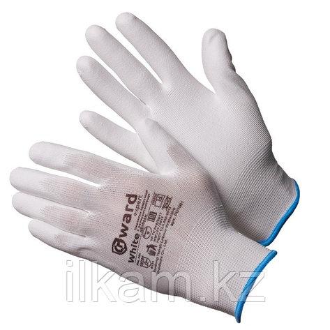 Перчатки нейлоновые белые с белым полиуретаном Gward White, фото 2
