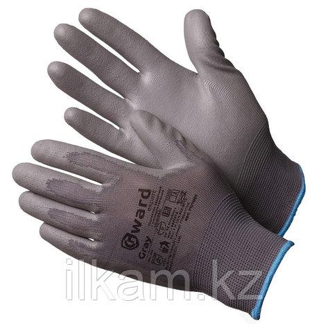 Перчатки нейлоновые серые с серым полиуретаном Gward Gray, фото 2