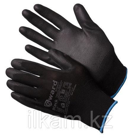 Перчатки нейлоновые черные с черным полиуретаном Gward Black, фото 2